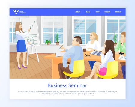 Business seminar people listening to presenter vector, woman standing by whiteboard with information and explanation of ideas, businesswoman. Website or webpage template, landing page flat style Ilustracja