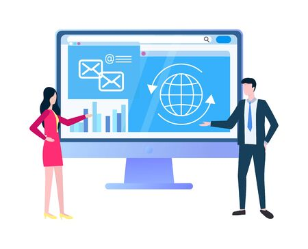 Online business strategies web page with statistics vector. Businessman and businesswoman near computer screen with messenger and chat, global network