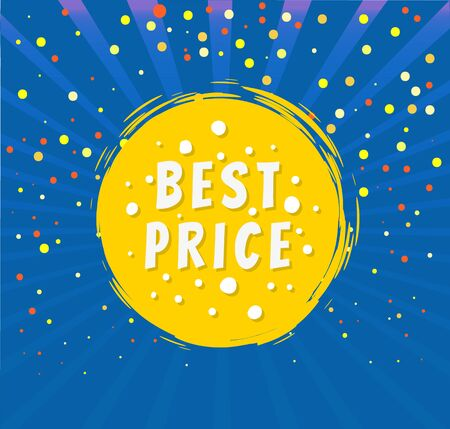 Best price round emblem isolated on blue background with rays and dots. Vector advertising tag, promo offer on brush strokes label, super sale and discounts