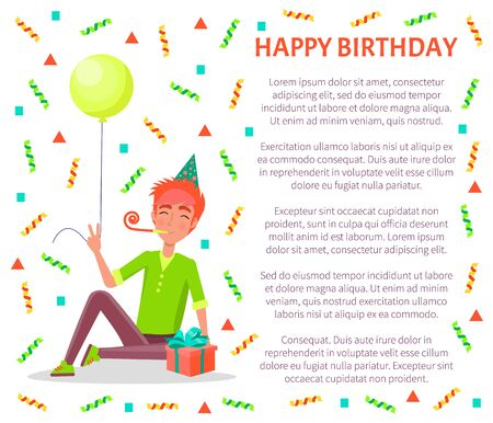 Happy birthday poster, man sitting with party horn, in festive hat vector tassels and confetti. Male with balloon and gift box celebrate fest, text sample