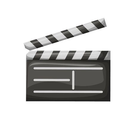 Open movie clapper on white. Empty check board with stripes, black glossy cinema object, equipment for making video production, film industry vector Vectores
