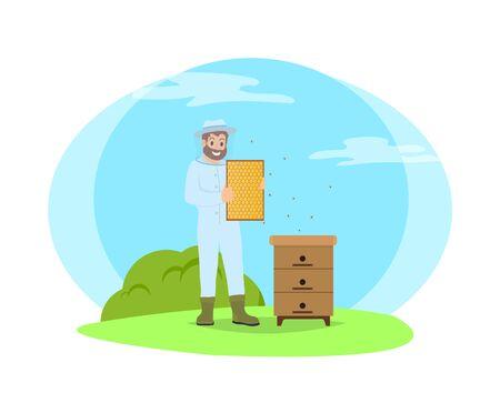 Apicultor con uniforme protector y máscara de plástico. Producción apícola de miel de abeja. Colmena y hombre sosteniendo panal en manos vector aislado