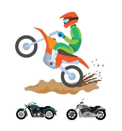 Dirt splashes on ground vector, man riding motorcycle, motorbikes types. Hobby and active lifestyle of person wearing special clothes and helmet with glasses