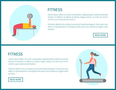 Running girl and pumping muscles man. Online fitness exercise, webpage decorated by man working with dumbbell and going female on treadmill vector