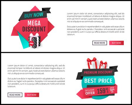 Mega discount on best price, buy now deal bargain web pages vector. Premium goods, exclusive products. Presents and gifts, stores sellout proposition Ilustracja