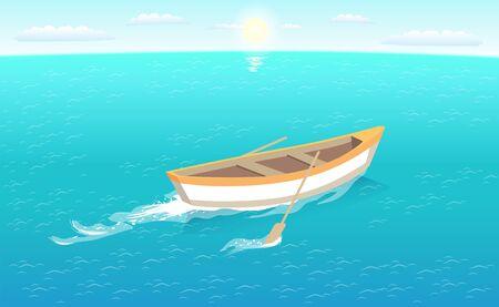 Un bateau de pêche avec des rames laisse des traces dans la mer ou l'océan, navire de voyage marin. Navire de pêcheur naviguant dans les eaux d'un bleu profond à l'horizon, au soleil et au ciel vecteur