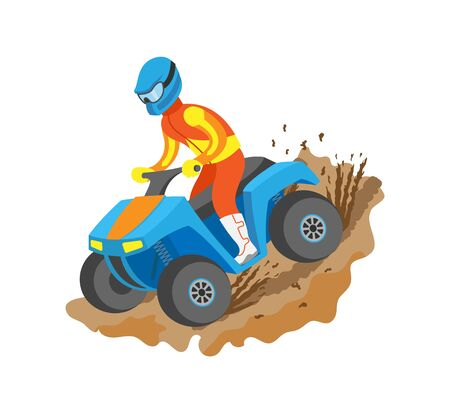 Extreme sport quad biking, man in bright suit and helmet standing on bike, championship or rally, flat view of person on atv driving by mud vector