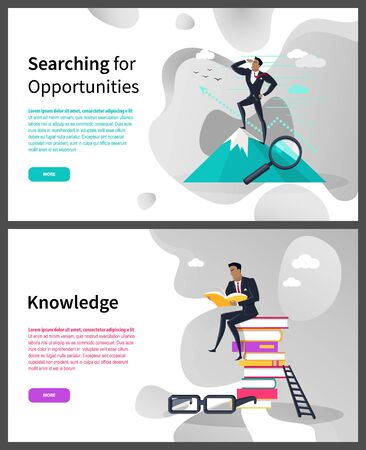 Knowledge and searching for opportunities web page vector. Businesswoman on top of mountain and pile of books, ladder and glasses, successful business Ilustracja