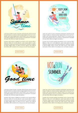 Good time vector, summer fun and adventures, woman windsurfing, male riding jet ski. People sitting in banana boat, scuba diving hobby of person, web