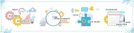 Set of banners. Business consulting and time management, join our team and strategic partnership. Collection of whiteboard and puzzle with big clock. Deadline and working projects vector in flat
