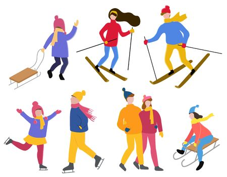 Set of winter characters with hobbies. Isolated collection of people leading active lifestyle. Woman and man skiing. Kid with sledges. Child figure skating. Walking couple in love. Vector in flat