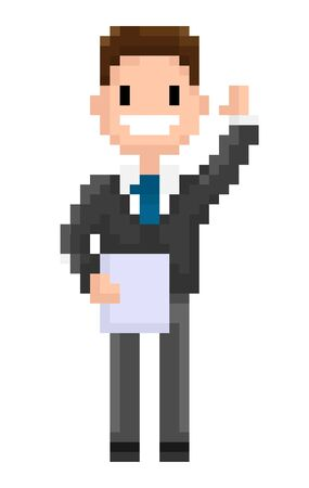 Man wearing formal clothes vector, pixel character isolated flat style man holding document and waving cheerfully, personage of 8 bit game, office worker Illustration