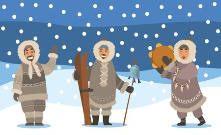 Winter landscape with snowfall and set of eskimos. Man and woman representatives of inuits. Arctic people waving hand, holding ski equipment and hunted fish on stick. Female singing songs vector Illustration