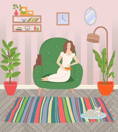 Girl sitting in armchair and eating popcorn. Cat on rug, fluffy pets. Living room cosy interior with house plants and furniture vector illustration Illusztráció