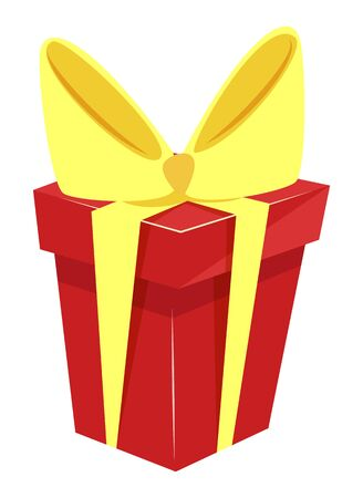 Cube shaped red box tied by yellow ribbons and bow. Big festive knot with tape on present package. Gift inside big carton receptacle isolated on white background. Vector illustration in flat style