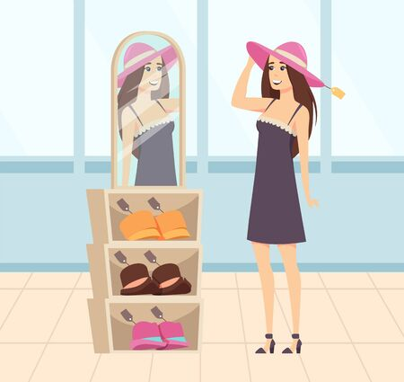 Woman character trying on hats, colorful header on shelf. Female shopper buying new clothes, supermarket shopping, lady clothing near mirror vector