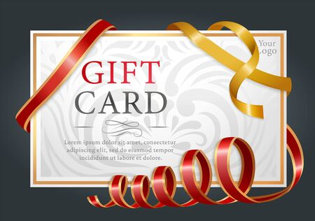 Designed gift card isolated on black background. Template of paper certificate with text tied with red and yellow ribbons. Present voucher for shopping with decor. Vector illustration in flat style