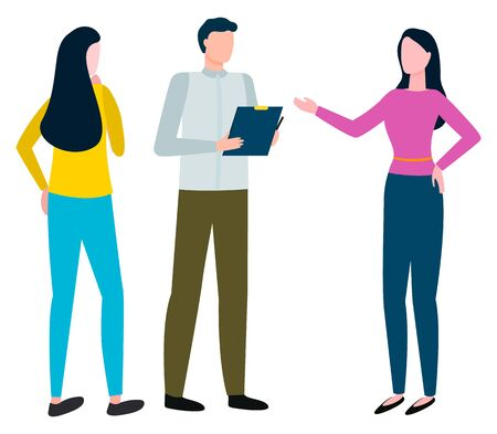 Coworkers talking on business issues. Isolated characters wearing formal clothes. Man holding clipboard and listening to women. Discussion of personages. Chief and assistants vector in flat style