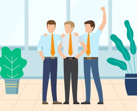Group of people hugging each other, businessmen standing together, team celebration. Workers employee in suit embracing, teamwork success and win vector