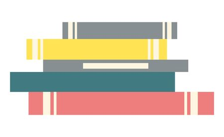 Stack of books. Literature for home or public library for reading interesting stories. Textbooks have hard cover and every different color, yellow and pink, blue and grey. Vector illustration Ilustração