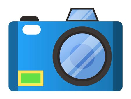 Digital camera for making photo. Device for photographers for making photos and pictures. Closeup appliance with flashlight and lens for photoshoots. Video recording gadget isolated item vector
