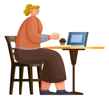 Woman character sitting at table with cup, cake and laptop. Worker breaktime with coffee and dessert in cafe. Female drinking java and communicating with computer in restaurant, business lunch vector Иллюстрация