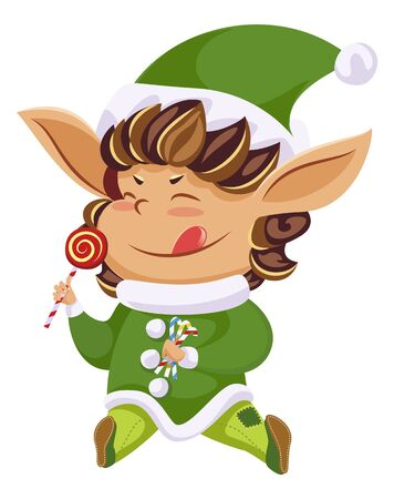 Elf or Santa helper with lollipop, Christmas character, isolated icon. Xmas holiday symbol, dwarf in green costume with sweet and cane candies. Imaginary creature from Lapland vector illustration