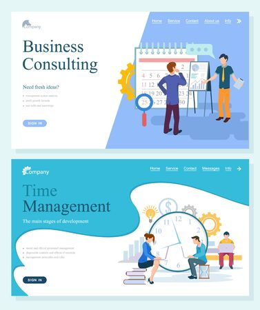 Business tech of company consulting and management, startup and stages of development. System analysis, principles and knowledge online vector. Website or webpage template, landing page flat style Vettoriali