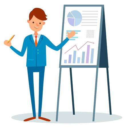 Male with pointer in hands presenting report, isolated cartoon person pointing on statistics data about investments and trades. Vector guy with tripod, business team