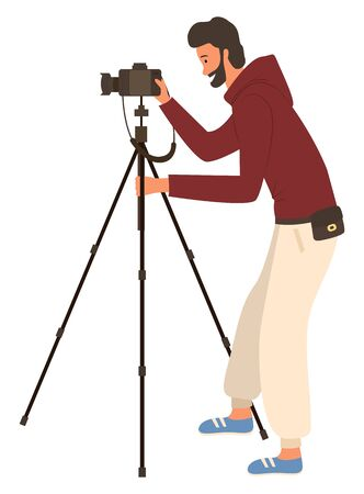 Man shooting videos or photos by camera on tripod, isolated male journalist or photo-correspondent. Vector job of photographer, guy at work, tourist