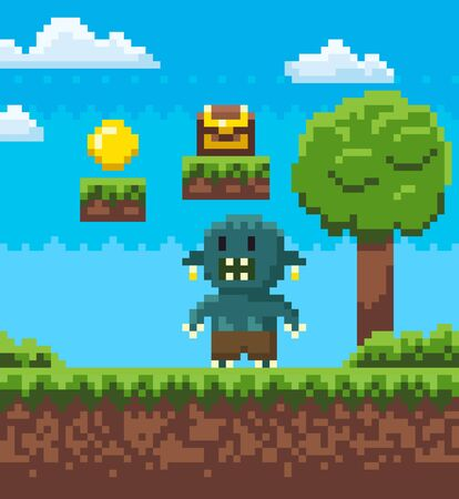 Angry man character of pixel game vector, scary monster with rage pixelated personage with treasure above, casket with coins and wealth, nature mosaics