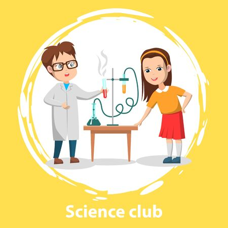 School science club for pupils. Two schoolchildren doing chemical experiment with test tubes and liquids on table. Vector illustration in flat cartoon style Ilustrace