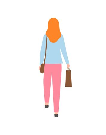 Redhead woman back view, isolated cartoon character in flat style. Vector girl with brown sack and pack, mother or wife on summer fair, girl in casual Illusztráció