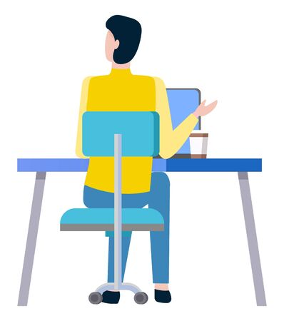 Worker sitting at desk on chair and working at computer isolated cartoon person, back view. Vector male with cup of coffee sitting at open notebook