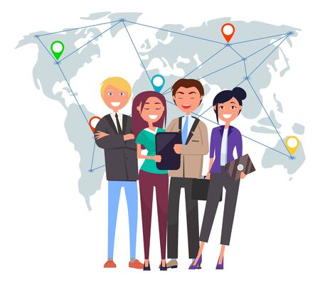 People working with international partners vector, man and woman with laptop and tablet. Teamwork business community with world map and pointers set