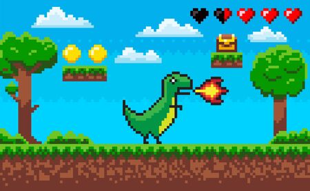 Pixel game character vector, treasure and clouds icons of life hearts. Dinosaur with flames from mouth, nature trees wooden casket with money scores Illusztráció