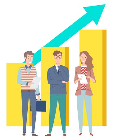 Workers man and woman holding papers, success teamwork, growth graph. Smiling workers discussing, portrait view of colleagues, rising arrow vector
