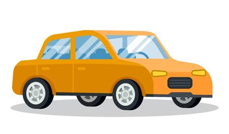 Yellow car closeup. Isolated transport of yellow color with noone inside. Traveling and transportation. Taxi cab for commuting. Retro fashioned vehicle front view. Vector in flat style illustration