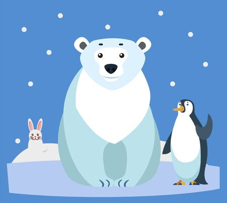 Hare and polar bear, penguin waving flippers. Animals of arctic regions. Bunny and bird sitting on ice floe. Snowfall and wildlife of north pole. Winter fauna and nature, vector in flat style