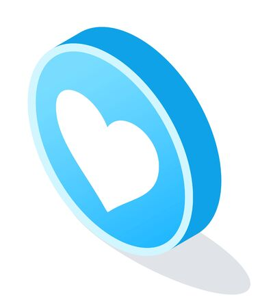 Social media heart icon in round shape. Element of post like circle emblem in blue color. Diagonal view of abstract browser for message. Innovation technology with web symbol vector Illustration