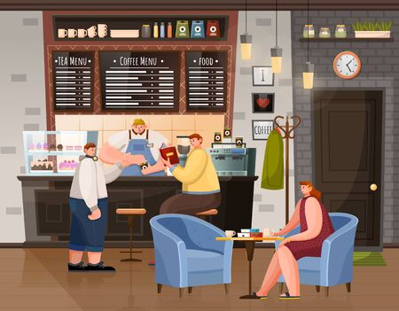 People breaktime with beverage in coffeehouse. Woman sitting at table with cup, men sitting near bar with bartender or waiter. Interior of restaurant urban place with coffee, tea and food menu vector