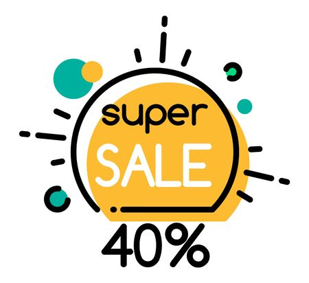 Super sale 40 percent off price, isolated promotional banner. Shops and stores propositions, reduced cost on item at market. Premium quality of cheap goods. Label discount vector in flat style
