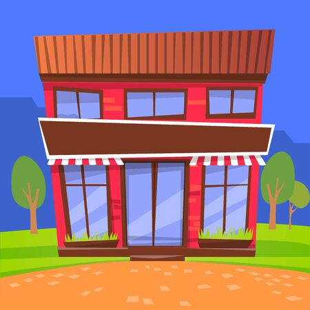 Facade of cafe with tent and windows. Two storey building located in city. Eatery or dinner, place to eat. Evening architecture of town. Night store surrounded by trees and greenery. Vector in flat
