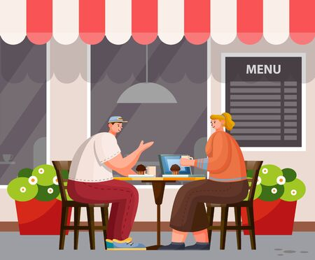 Two people have lunch outdoor. Summer area of cafe on street. Man and woman sit at table, talk and eat cupcakes. Modern exterior design of coffeehouse, menu board on wall, vector illustration in flat Illusztráció