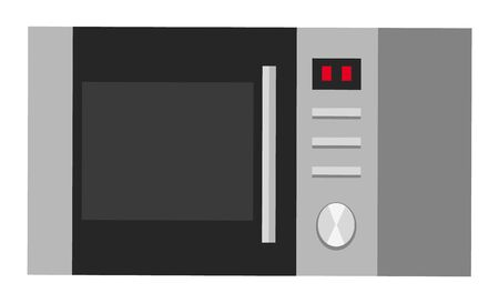 Microwave oven isolated icon of kitchen equipment. Kitchenware appliance for cooking. Device with timer and buttons. Electrical item for preparation of meal. Warming up and defrosting vector Ilustrace