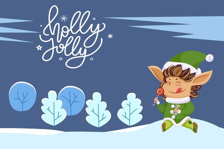 Holly jolly greeting card with calligraphic inscription and running elf eating lollipop candy. Winter landscape with trees covered by snow. Cute dwarf wearing green costume, vector in flat, wintertime