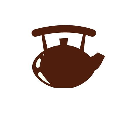 Teapot for making tea, ceramic kettle isolated icon vector. Beverage coffee pot with water in it, porcelain mug equipment kitchenware cooking closeup