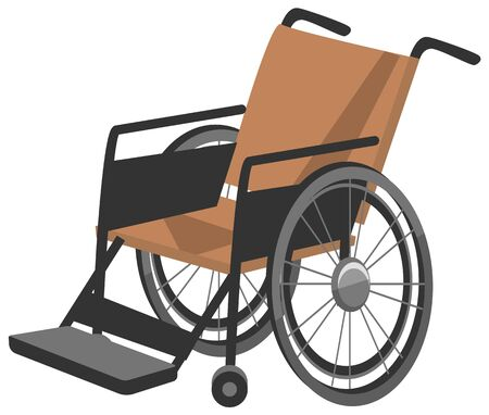 Invalid carriage single seater road buggy or self propelled vehicles for disabled people. Wheelchair for person with illness. Object isolated on white background. Vector illustration in flat style Archivio Fotografico - 135239043