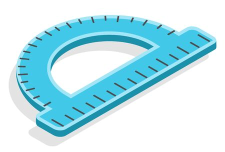 School supply vector, isolated protractor for angles measuring flat style. Dimension marks, rounded shape of object for geometry classes and lessons