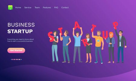 Business startup vector, people holding signs, launching new project, workers happy to start new technology, businessman and businesslady. Website or web page template, landing page flat style